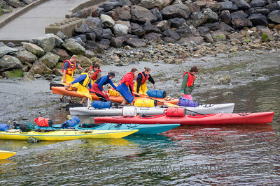 People ready for Sea Kayaking in the Pacific Ocean - Tofino, Pacific Rim National Park, Vancouver Island, British Columbia, Canada