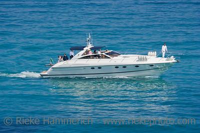 speedboat in action - saint-tropez, french riviera, mediterranean sea - adobe RGB