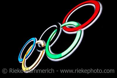 Olympic Rings - Illuminated Neon Sign in Hongkong, China, Asia
