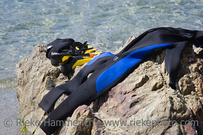 close-up of diving gear on a rock - french riviera,mediterranean sea - adobe RGB