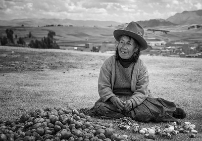 Potatoes  • On the terraces of Chinchero, this woman was kind enough to let me take some photographs while our guide explained the process of dehydrating potatoes. Peru has lots of potatoes! And really excellent hats! • Chinchero, Peru - September 2nd, 2017 • posted (9/20/2017)