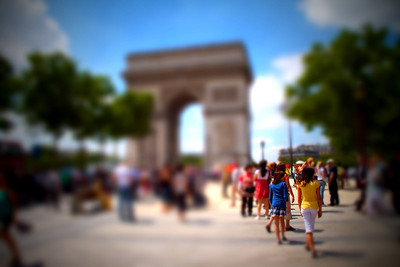 48 • Miniature Daughters  • Danielle & Sarah at the Arc de Triomphe • Paris, France • 2010 • post processing on iPad with TiltShiftGen (posted 2/12/11)