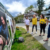 KRISTOPHER RADDER — BRATTLEBORO REFORMER<br /> Conall Halvey, Abigail Lowe, Avery White and Caroline Mehner, seniors at Leland & Gray Union Middle and High School, in Townshend, Vt., look at a display of senior portraits to honor the class of 2020 outside of the school on Friday, May 15, 2020.