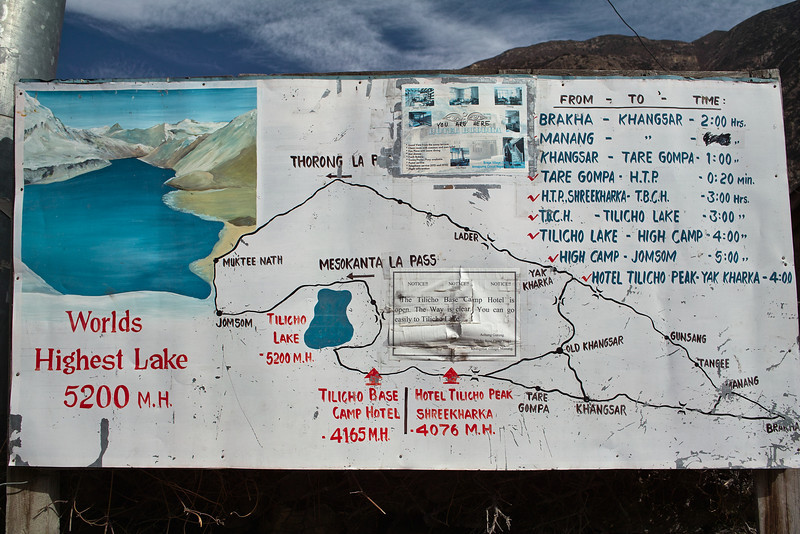 A signboard at Braga.  Eh, well, the lake is at 4900 meters, not 5200, but high enough.  We'll be heading there.