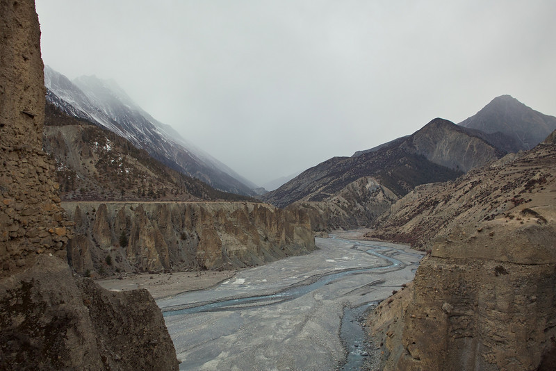 I shoulda stood in bed.  Heading out from Manang to Tilicho Base Camp.  Snow in the distance.