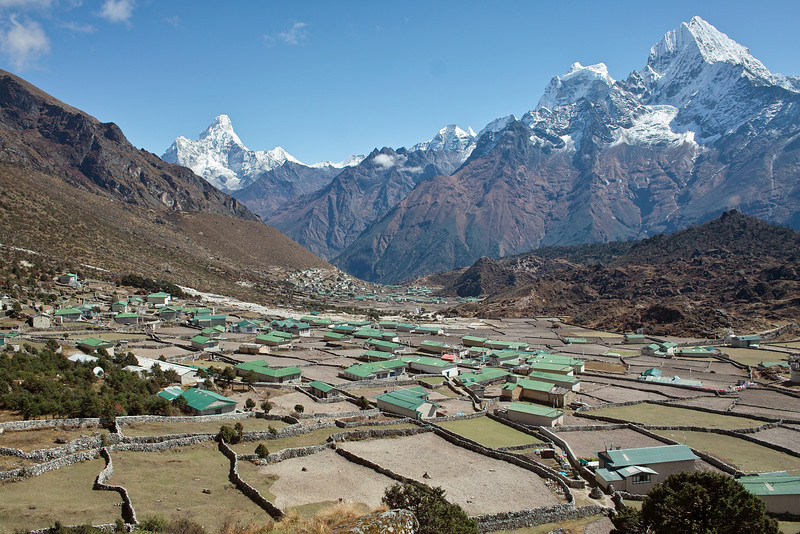Looking across both Khunde and Khumjung.