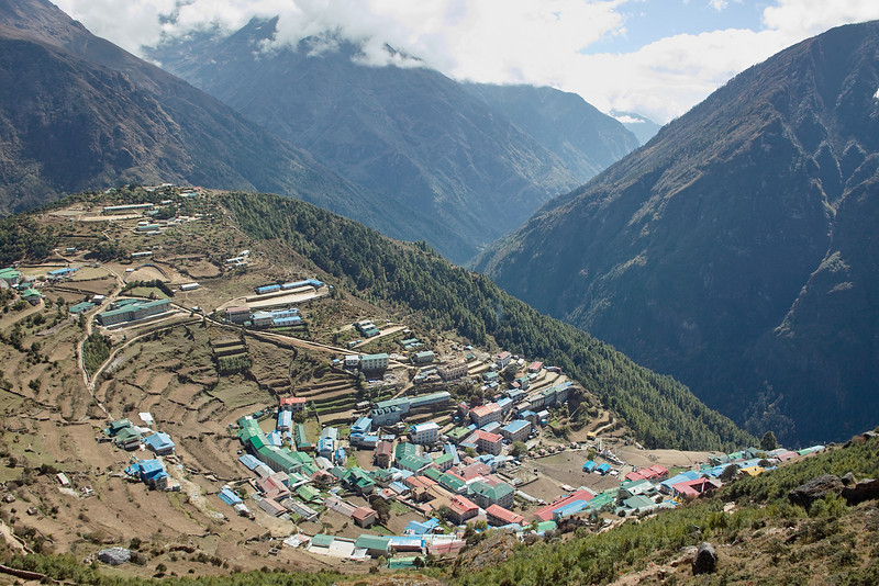 Finishing up the day hike, back at Namche.