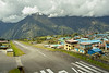 Lukla landing strip.  Lots of clouds, but not where they would prohibit landing.