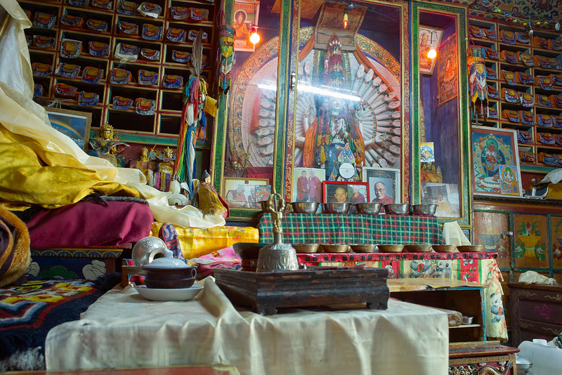 A small monastery above Khunde - Khunde Chamkang.  Per Lonely Planet - 'Inside is the statue of  thousand-armed Avalokitesavara, the Tibetan god of compassion, who is represented on earth by the Dali Lama.'<br /> <br /> This photo came out as well as it did because I used the Gorrillapod and did a long exposure.  Only place I felt comfortable taking the time to do so.