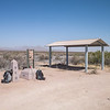 Sam took us on a multi-hour drive to the designated CDT start location.  A spot on the Mexican border, very much in the middle of nowhere, called Crazy Cook. <br /> <br /> Vandals stole the picnic table that was under the shelter, and knocked the monument off its pedestal.