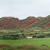 Returned to Bishkek, then on to Karakol for next adventure.  Heading out, drove past this red rocks outcropping.