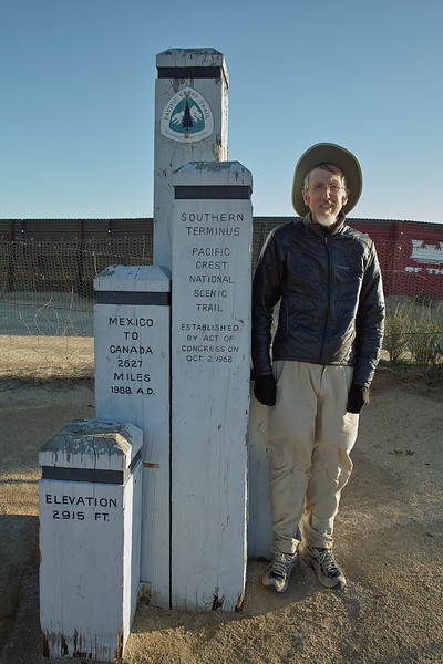 Me, at the border.  Actually taken near the end of the hiking day.  Covered the first 20.6 with Warner Springs Monty.