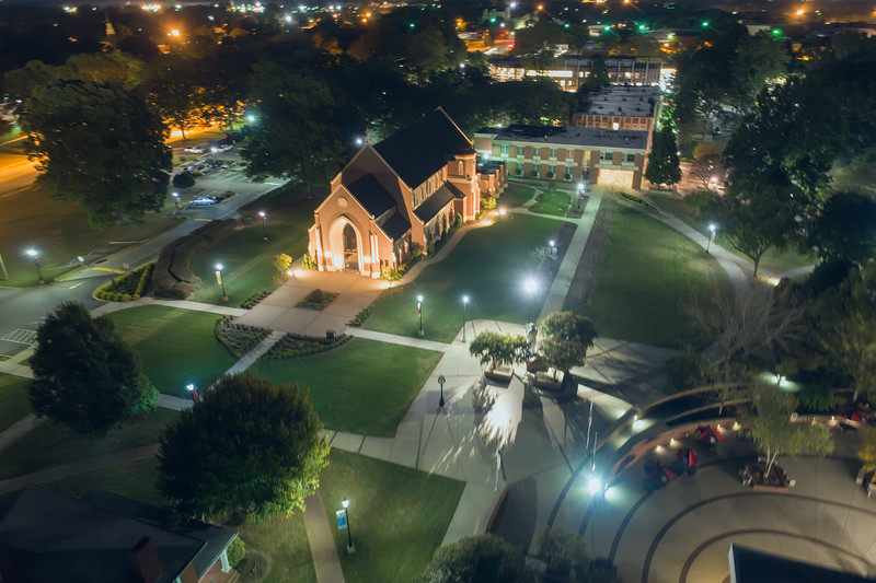 Lenoir-Rhyne University | Grace Chapel | Night Aerial