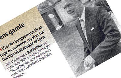"""Snip fra Fyns Stiftstidende om Schlüters tale i 1988 """"Vi er for langsomme til at tage os sammen, og for hurtige til at slappe af"""""""