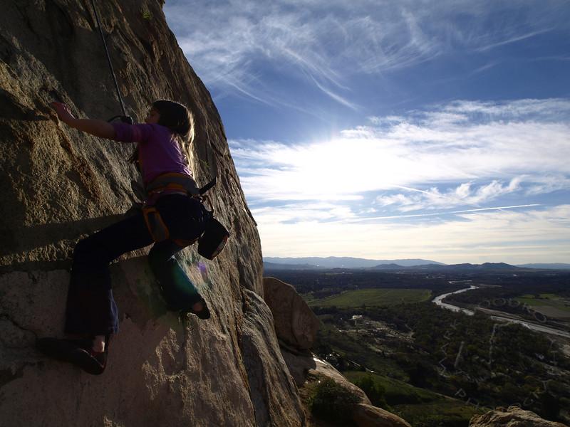 Rock climbing on Mount Rubidoux, California.