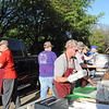 St. Vincent de Paul Parish Men's Club members work filling and delivering fish orders to customers at the drive-thru area of their weekly Lenten fish fry on Friday March 24th. (NTC photo/Donna Ryckaert)