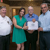 The City of Leominster held a Covid-19 response team banquet at Monoosnock Country Club on Saturday night. They gave out certificates of recognition to everyone that had a hand in handling the pandemic in 2020. Giving out a certificate to Michelle Palladino is, from left, Director of Emergency Management James LeBlanc,  Assistant Deputy Director Dick Gauvin and Mayor Dean Mazzarella. SENTINEL & ENTERPRISE/JOHN LOVE