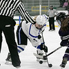 Leominster High School girls hockey played St. Peter-Marian on Saturday at the Wallace Civic Center at Fitchburg State University, Jan. 4, 2020. LHS's #2 Hanna Erickson and SPM's #11 Emily Hamann on a faceoff. SENTINEL & ENTERPRISE/JOHN LOVE