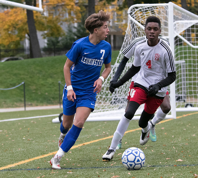 Leominster High School boys soccer hosted Worcester South High School at Doyle field on Tuesday, Oct. 29, 2019. LHS's #7 Alex Miller and WSHS's #4 Dennis Twumasi. SENTINEL & ENTERPRISE/JOHN LOVE