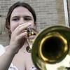Playing the trumpet at The First Annual Senior Art Awards Show on Thursday night at Leominster High School junior Meghan Ogonowski. SENTINEL & ENTERPRISE/JOHN LOVE