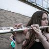 Playing thr Flute at The First Annual Senior Art Awards Show on Thursday night at Leominster High School is freshman Maya Cohen. SENTINEL & ENTERPRISE/JOHN LOVE