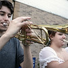 Playing the trumpet at The First Annual Senior Art Awards Show on Thursday night at Leominster High School is junior Alex Williams. SENTINEL & ENTERPRISE/JOHN LOVE
