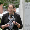 State Representative Natalie Higgins addresses the crowd at the Leominster Memorial Day Ceremony on Monday May 31, 2021 at Carter Park. SENTINEL & ENTERPRISE/JOHN LOVE