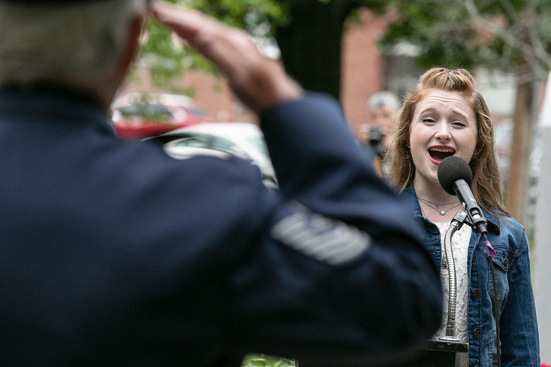 Abby Waterhouse, 18, sings the national anthem at the Leominster Memorial Day Ceremony on Monday May 31, 2021 at Carter Park. SENTINEL & ENTERPRISE/JOHN LOVE