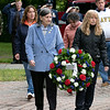 Gold Star Wife Claire Freda and Gold Star Mother Pauline Roberge place a wreath during the Leominster Memorial Day Ceremony on Monday May 31, 2021 at Carter Park. SENTINEL & ENTERPRISE/JOHN LOVE