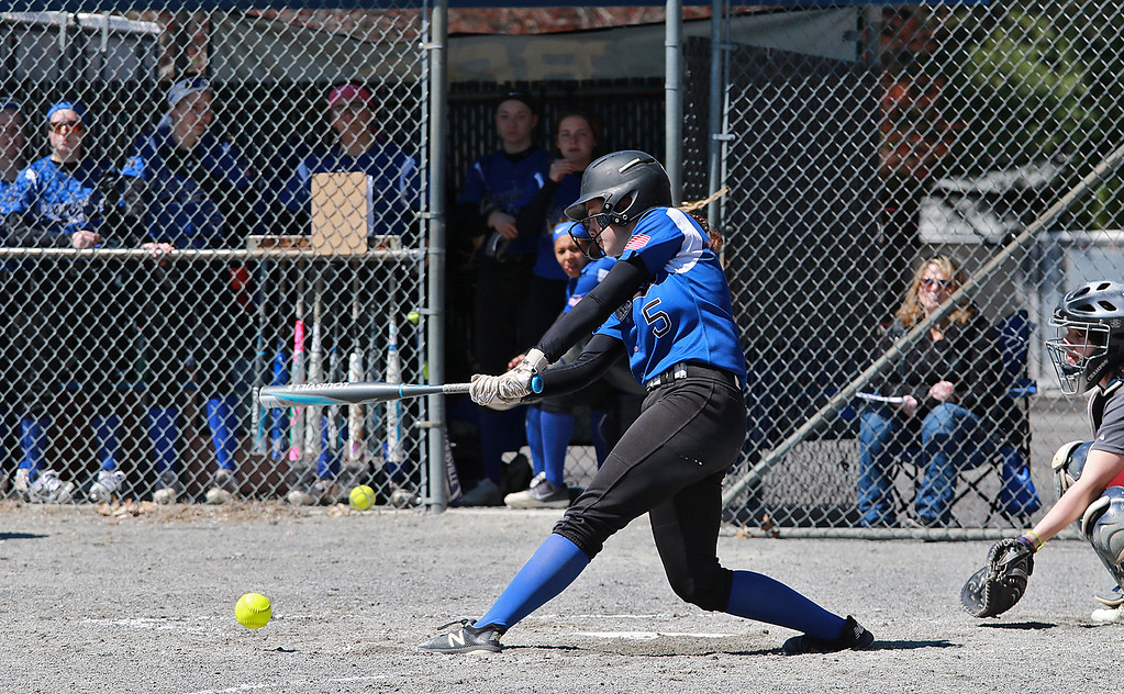. Leominster High School softball hosted Fitchburg High School on Tuesday after new at Lassie League Complex in Leominster, April 16, 2019. LHS\'s Tamara Landry gets a piece of the ball during action in the game. SENTINEL & ENTERPRISE/JOHN LOVE