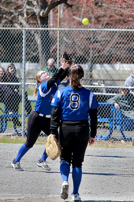 . Leominster High School softball hosted Fitchburg High School on Tuesday after new at Lassie League Complex in Leominster, April 16, 2019. LHS\'s first baseman Lauren Dube gets under the ball to make an out during action in the game. SENTINEL & ENTERPRISE/JOHN LOVE