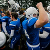 The Blue Devils celebrate the 49-12 Leominster victory over Fitchburg in the 2016 Thanksgiving Day game. SENTINEL & ENTERPRISE / Ashley Green