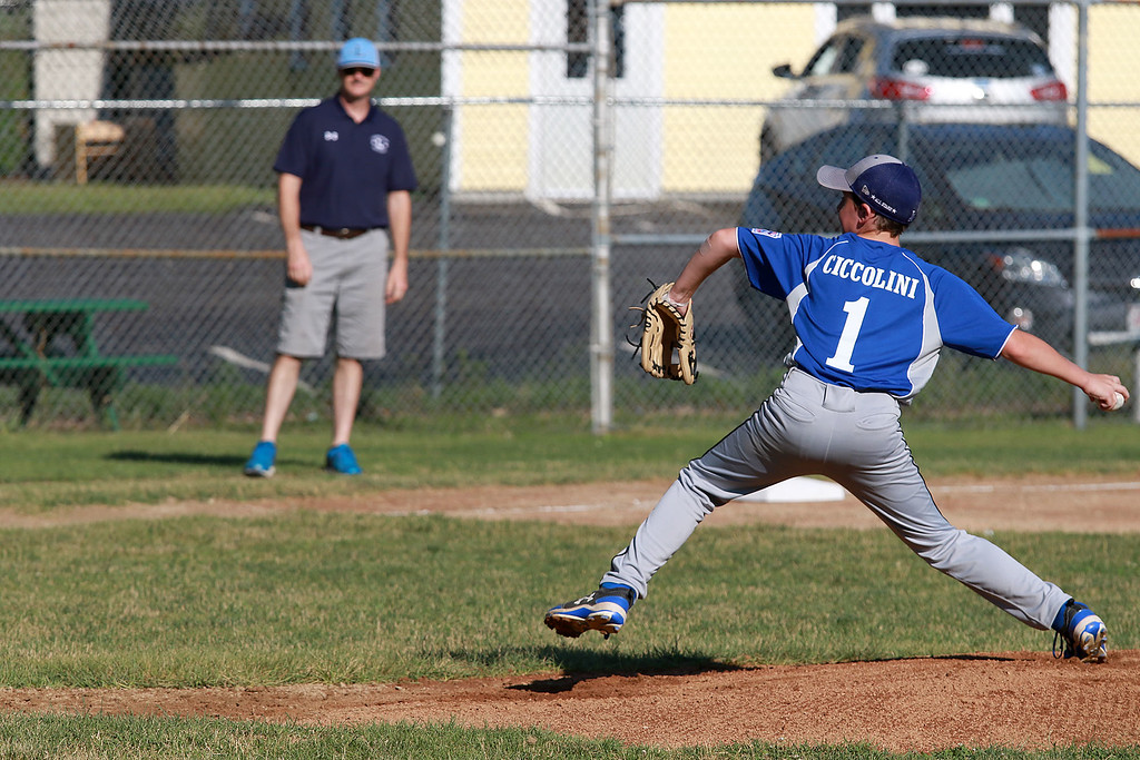 . Leominster American,  bark blue shirts, played Leominster National on Friday night at Angelo Picucci Field in Leominster. Leominster American pitcher Louis Ciccolini winds up to deliver a pitch during action in the game. SENTINEL & ENTERPRISE/JOHN LOVE