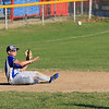 Leominster American, bark blue shirts, played Leominster National on Friday night at Angelo Picucci Field in Leominster. Leominster American player Louis Ciccolini makes a nice throw from a seated position to make an out at second after diving for a ground ball.  SENTINEL & ENTERPRISE/JOHN LOVE