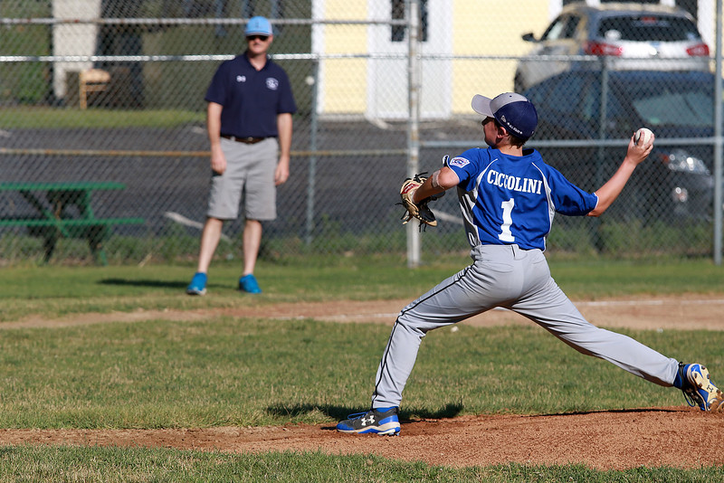 Leominster American,  bark blue shirts, played Leominster National on Friday night at Angelo Picucci Field in Leominster. Leominster American pitcher Louis Ciccolini winds up to deliver a pitch during action in the game. SENTINEL & ENTERPRISE/JOHN LOVE