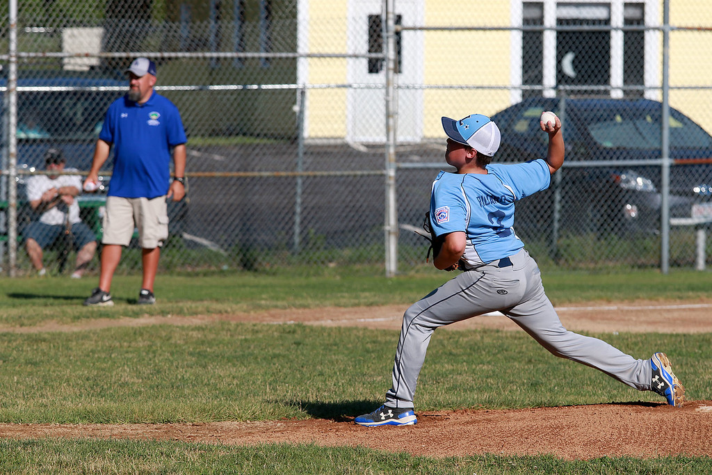 . Leominster American, bark blue shirts, played Leominster National on Friday night at Angelo Picucci Field in Leominster. Leominster American pitcher Reid Richard winds up to deliver a pitch during action in the game. SENTINEL & ENTERPRISE/JOHN LOVE