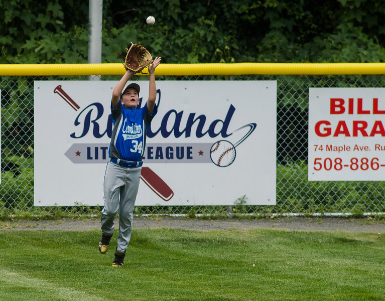 Leominster American's Reece Lora makes a play in centerfield during the game against Holden on Saturday, July 22, 2017. SENTINEL & ENTERPRISE / Ashley Green