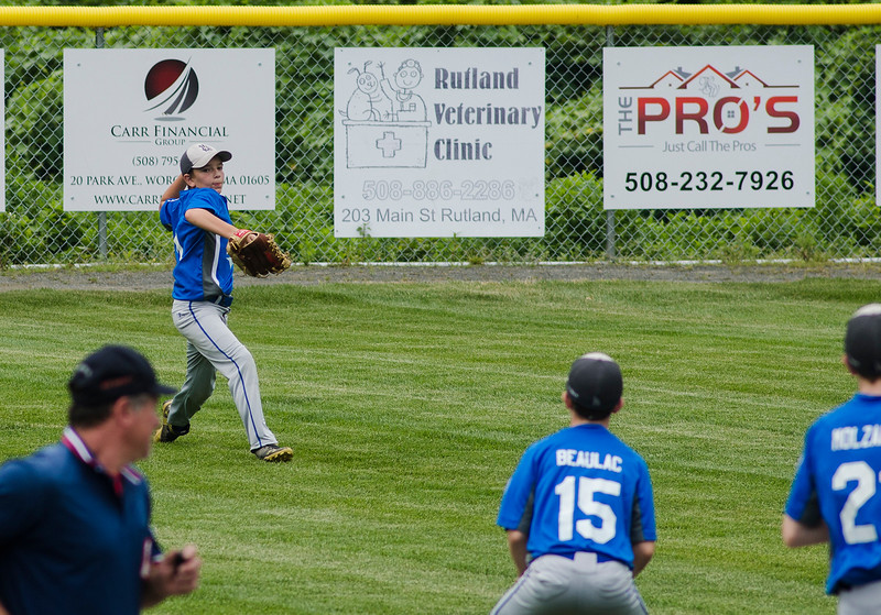 Leominster American's Reece Lora makes a play from the outfield during the game against Holden on Saturday, July 22, 2017. SENTINEL & ENTERPRISE / Ashley Green
