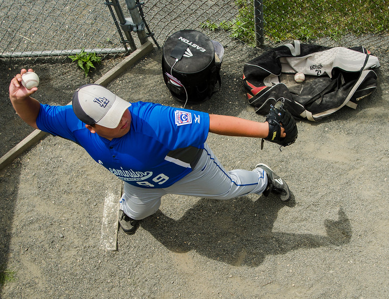 Leominster American's Jacob Paskell warms up in the pen during the game against Holden on Saturday, July 22, 2017. SENTINEL & ENTERPRISE / Ashley Green