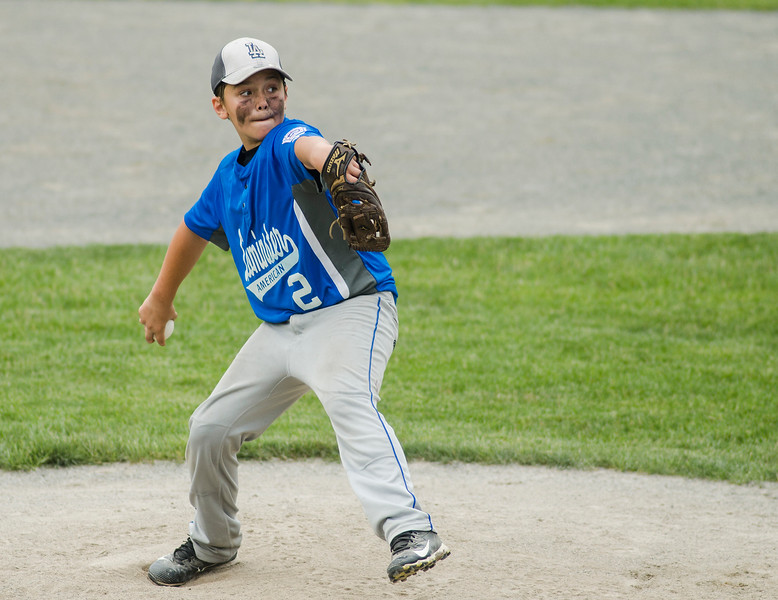 Leominster American's Tony Salvatelli delivers a pitch during the game against Holden on Saturday, July 22, 2017. SENTINEL & ENTERPRISE / Ashley Green