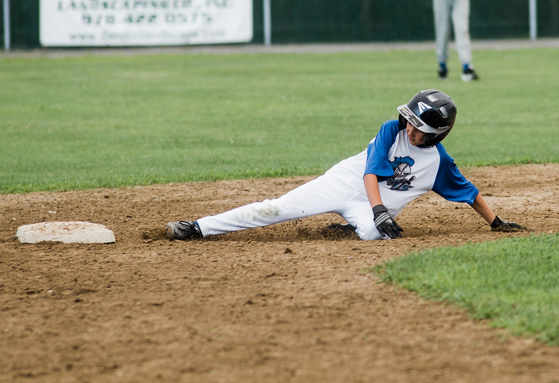 Lunenburg's Alex LeBlanc slides safely into second during the game against Leominster American on Tuesday, July 25, 2017. SENTINEL & ENTERPRISE / Ashley Green