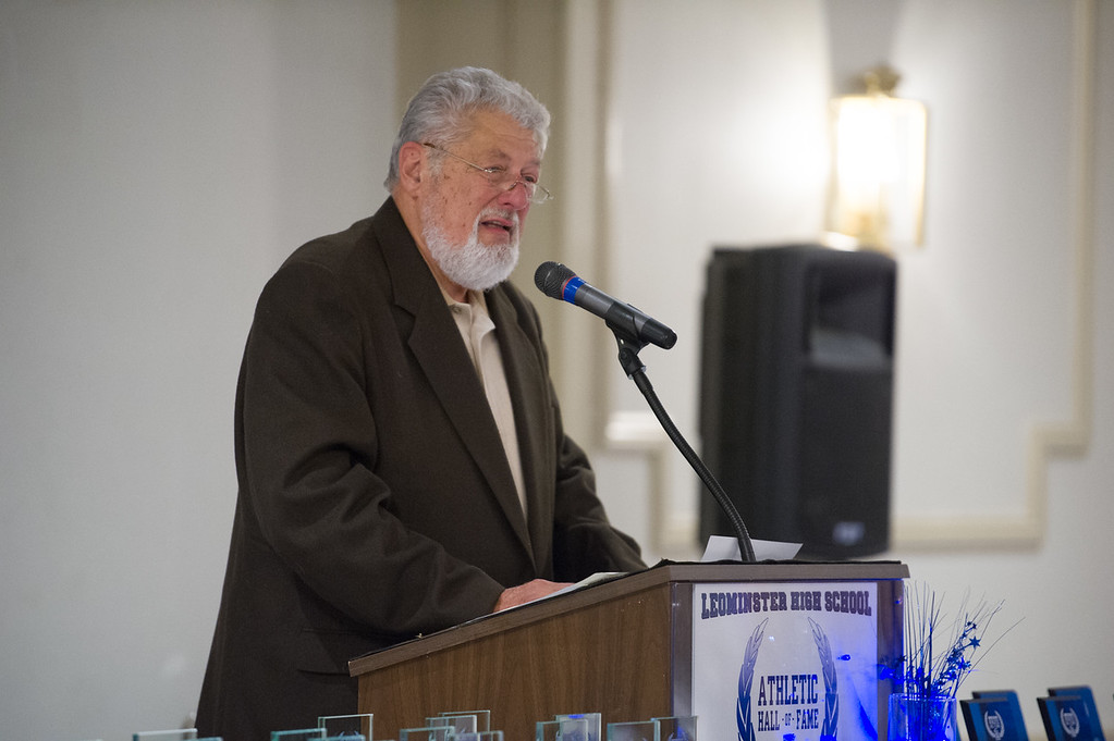 . 101318 LEOMINSTER- Bob Healy opens the Leominster High School Athletic Hall of Fame ceremony on Saturday at the Leominster Elks Lodge. SENTINEL & ENTERPRISE JEFF PORTER