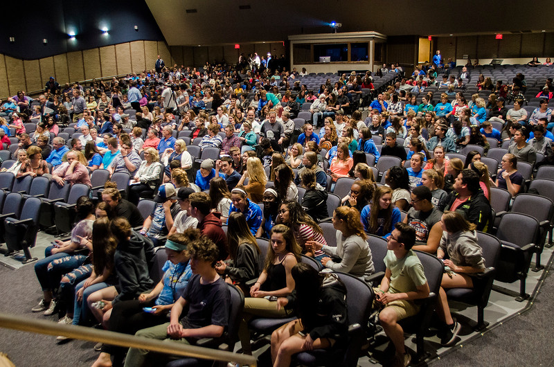 Concerned residents filled the auditorium at Leominster High School on Tuesday, May 23, 2017 for a public hearing to discuss the nearly 100 full-time equivalent employees that have been listed for possible layoffs as Leominster Public Schools attempt to close a projected budget deficit of nearly $5 million for fiscal 2018. SENTINEL & ENTERPRISE / Ashley Green