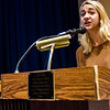 LHS student Natalie Dombrowski speaks on Tuesday, May 23, 2017 during a public hearing to discuss the nearly 100 full-time equivalent employees that have been listed for possible layoffs as Leominster Public Schools attempt to close a projected budget deficit of nearly $5 million for fiscal 2018. SENTINEL & ENTERPRISE / Ashley Green