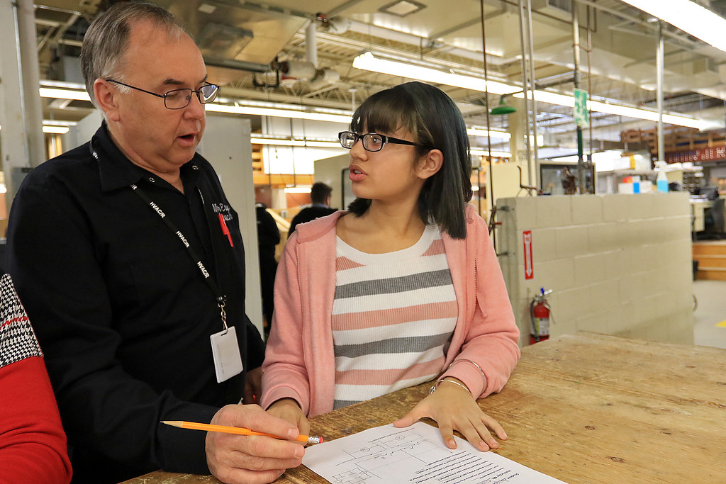 . Heating, ventilation, and air conditioning (HVAC)companies were at Leominster Center For Technical Education Innovation (CTEi ) on Thursday morning to talk to the students in the school HVAC program about opportunities in the field and with their companies. HVAC/R instructor Russ Esau helps sophomore Aaliyah Padilla during class. She had drawn a schematic to show a fix to an electrical problem.  SENTINEL & ENTERPRISE/JOHN LOVE