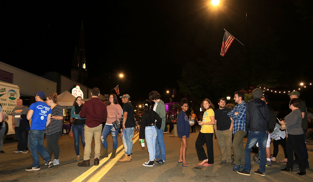 . Their where long lines at Leominster\'s Cannoli Festival on Thursday night, October 4, 2018. SENTINEL & ENTERPRISE/JOHN LOVE