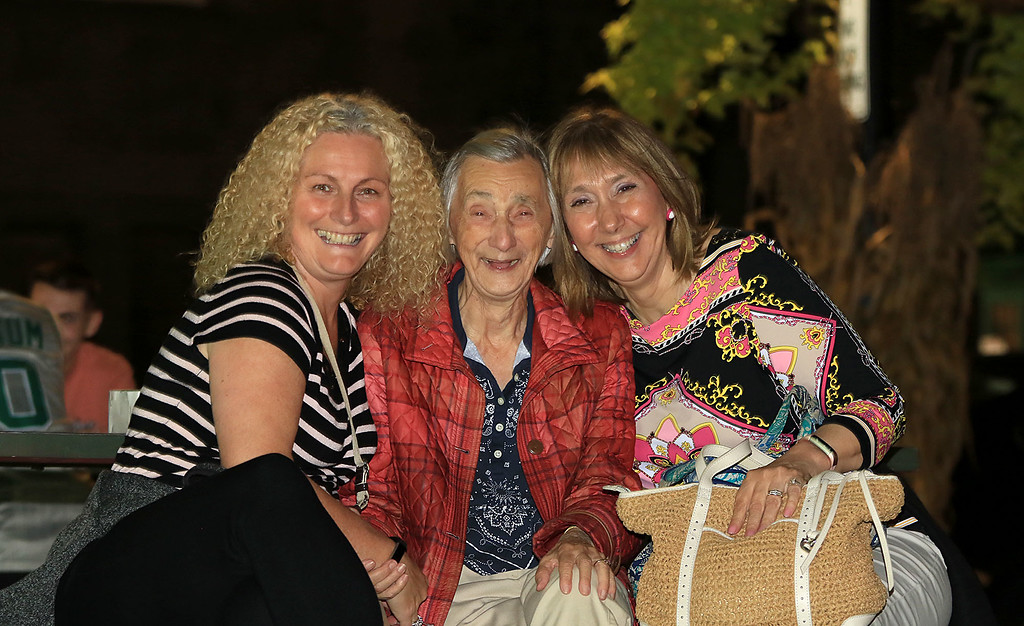 . Having some fun at Leominster\'s Cannoli Festival on Thursday night, October 4, 2018 is, from left, Sharon Ceruto, Pauline Gentile and Linda Fifield all of Leominster. SENTINEL & ENTERPRISE/JOHN LOVE