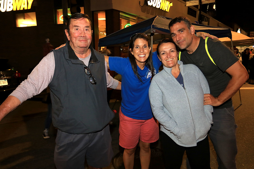 . Having some fun at Leominster\'s Cannoli Festival on Thursday night, October 4, 2018 is, from left, Dick Armstrong, Melissa Tasca, jason Pare and Nicole Pare. SENTINEL & ENTERPRISE/JOHN LOVE