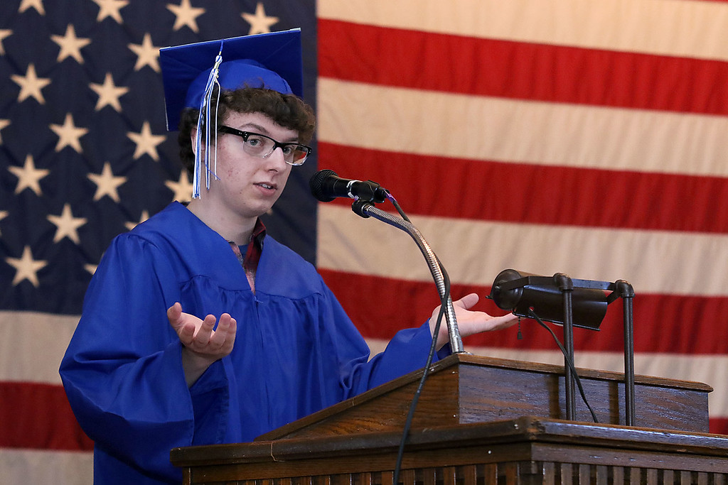 . Leominster Center for Excellence class of 2018 held their graduation ceremony on Thursday, May 31, 2018 at Leominster City Hall. This is just a few scenes from the graduation. Graduate Michael Joyce addressed the crowd and graduates as one of the student speakers at the ceremony. SENTINEL & ENTERPRISE/JOHN LOVE