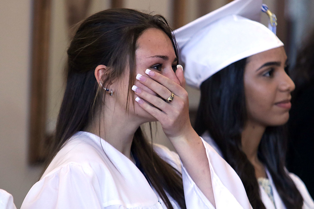 . Leominster Center for Excellence class of 2018 held their graduation ceremony on Thursday, May 31, 2018 at Leominster City Hall. Graduate Madison Yakusik got a little emotional as she watched the slideshow of their school year played after they got their diplomas. SENTINEL & ENTERPRISE/JOHN LOVE